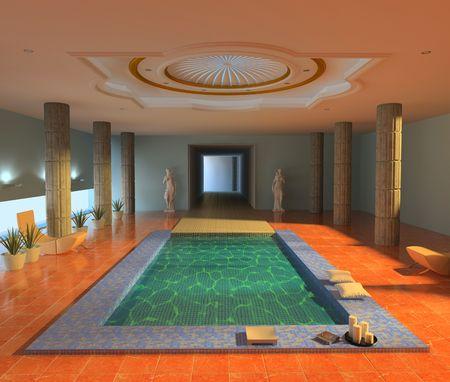 luxury spa interior ( 3d rendering ) Stock Photo