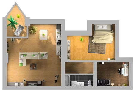 modern interior on the top view (private apartment 3d rendering)    Stock Photo