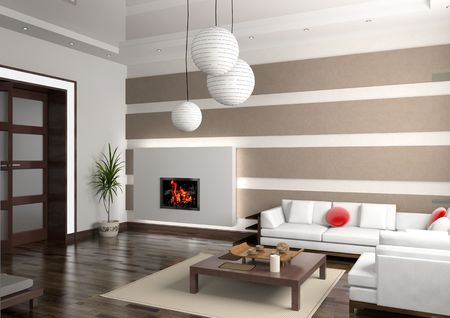 eclecticism: modern private interior (3D rendering) Stock Photo