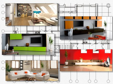 modern interior image set over architecture plan (3D rendering) photo