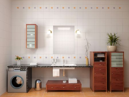 modern bathroom interior (3D interior) Stock Photo - 3509805