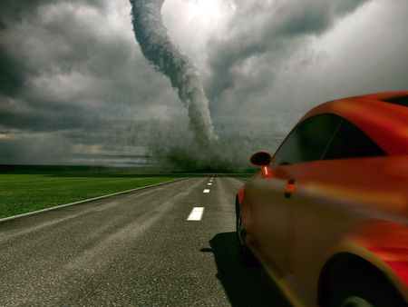 windstorm: The car rushes on road towards to a tornado (3D) Stock Photo