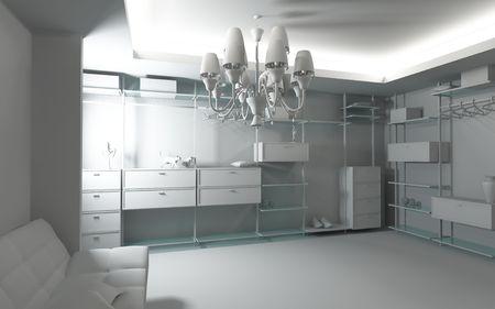 checkroom: modern blank wardrobe interior (3D rendering)