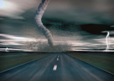 large tornado over the road (3D rendring) Stock Photo - 3537165
