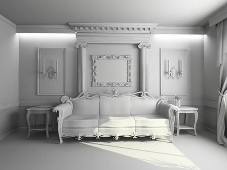 classic living room: blank modern classic interior design (private apartment 3d rendering)