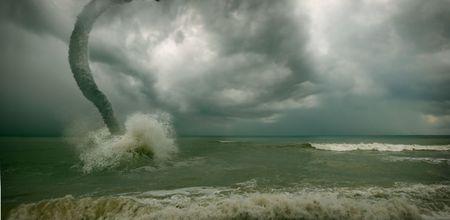 ocean tornado storm (3D used) photo