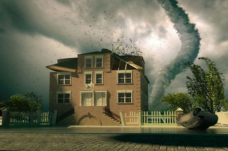 teaming: tornado over the house (3d rendering) Stock Photo