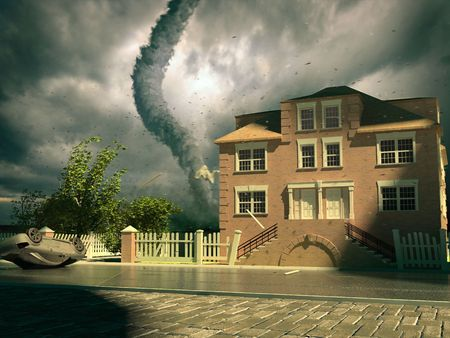 tornado over the house (3d rendering) Stock Photo