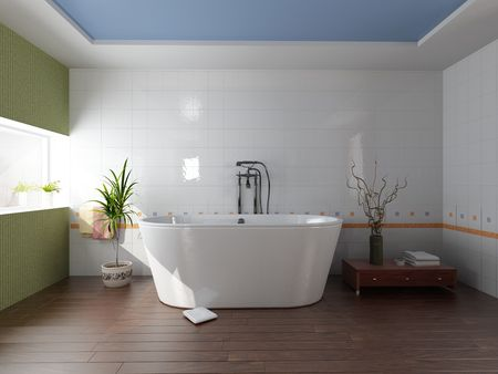 bathroom tile: modern bathroom with a  tub (3D rendering) Stock Photo