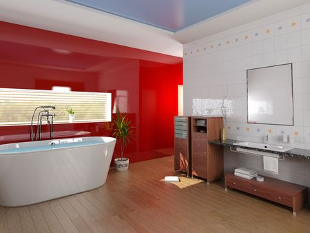 modern bathroom with a  tub (3D rendering) photo