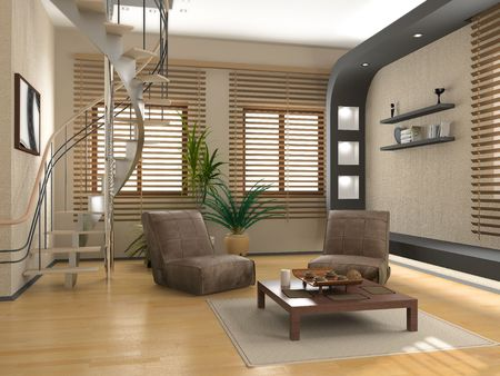 blinds: modern interior (3D rendering ) Stock Photo