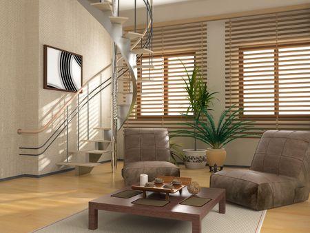 eclecticism: modern interior (3D rendering ) Stock Photo