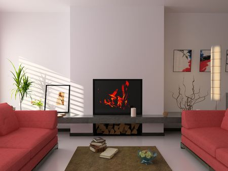 eclecticism: modern interior ( 3d rendering ) Stock Photo