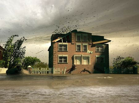 water damage: the flooding  (3D render) Stock Photo