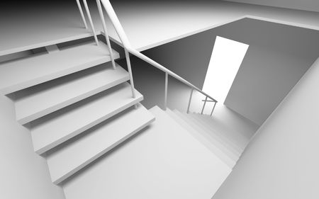 diminishing view: blank star interior ( 3D rendering )