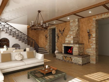 stone fireplace: modern interior (computer generated image)