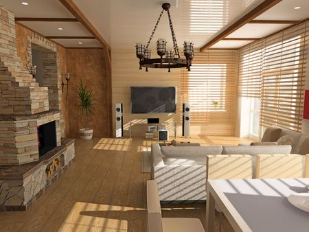 wood blinds: modern interior (computer generated image)