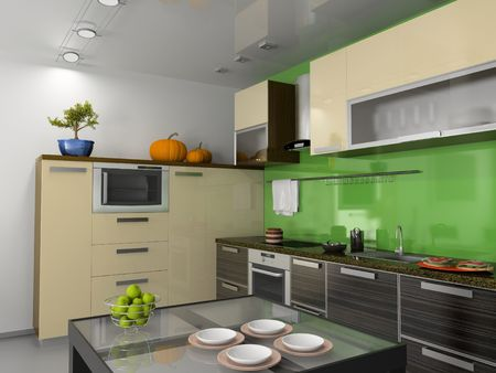 kitchens: modern kitchen interior (computer generated image)