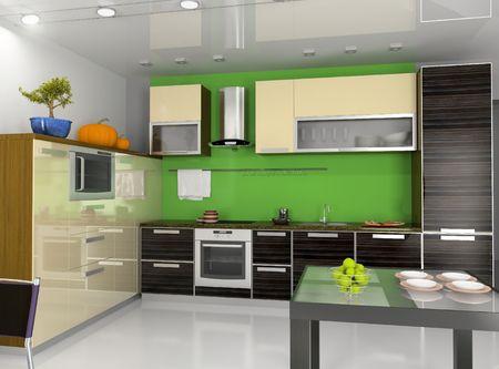 computer generated image: cucina moderna interni (computer generated image)