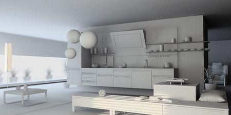 the blank kitchen interior (3D) Stock Photo - 3909402