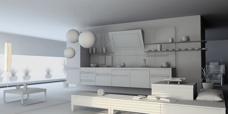 the blank kitchen interior (3D) Stock Photo - 3909402