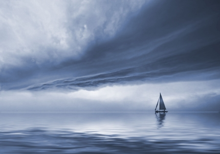 storm waves: the along  vessel in dramatic sky landscape