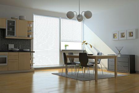 computer generated image: modern kitchen interior (computer generated image)