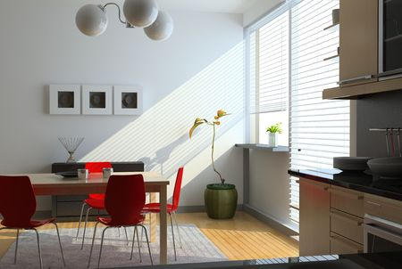 wood blinds: modern kitchen interior (computer generated image)