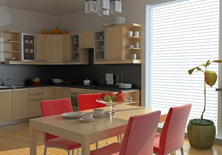 computer generated image: cucina moderna interni (immagine generati dal computer)  Archivio Fotografico
