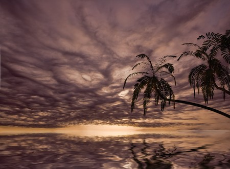 the beautiful sunset  in tropical landscape (3D) photo