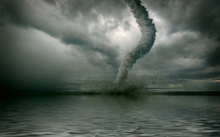 windstorm: large tornado over the water (3D rendring)