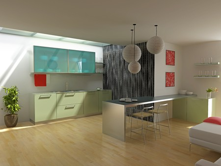 modern kitchen in the  loft apartment (3D) Stock Photo - 4017216