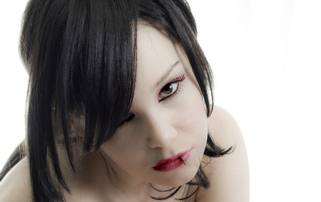 portrait of emo girl closeup beauty face   photo