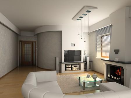 modern luxury living room (3D) photo