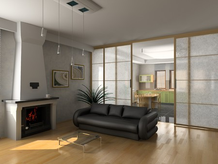 modern luxury living room (3D) photo