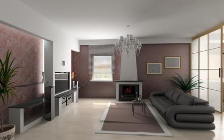 modern luxury living room (3D) Stock Photo