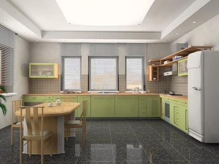 the modern kitchen interior design (3D rendering) Stock Photo