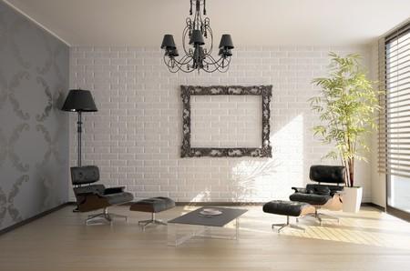 modern interior design(3D rendering) photo