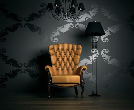 antiek behang: 3D interieur scène met klassieke leunstoel en lamp