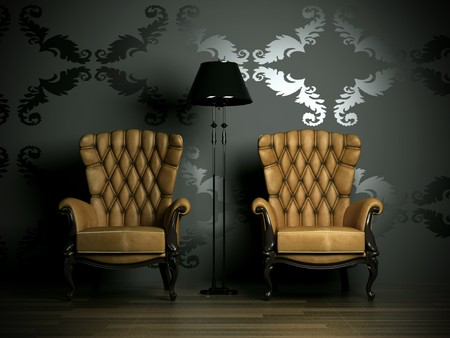 3D interior scene with classic armchair and lamp  photo