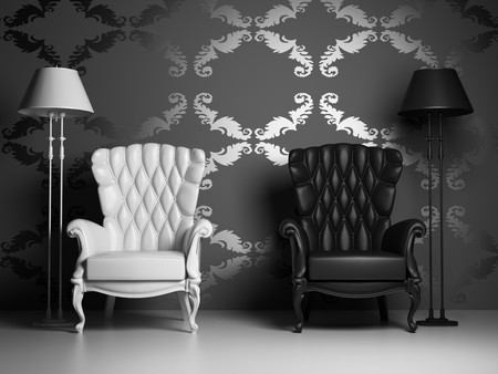 white & black vintage armchairs over baroque style wallpaper (3D)