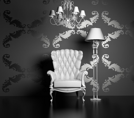 chandelier background: 3D interior scene with classic armchair and lamp
