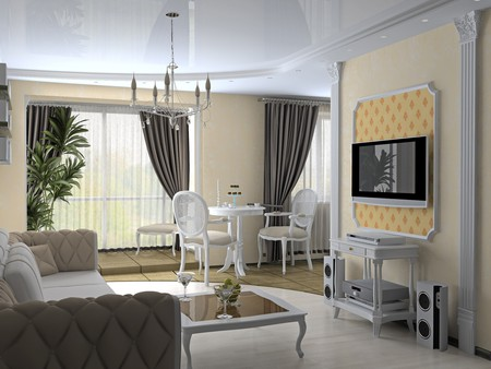 baroque room: modern interior in classic style (3D rendering) Stock Photo