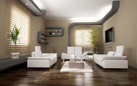 blinds: modern interior design ( 3D rendering )