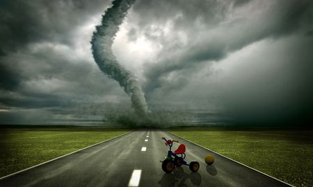 large tornado over the road, approaching to toys(3D rendring) Stock Photo - 4615000