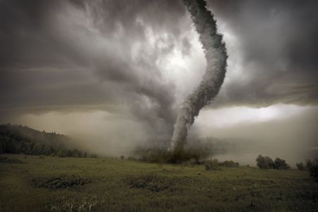 large tornado over the meadow (3D rendring)