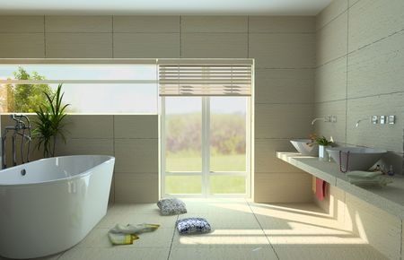modern bathroom interior with a  tub (3D rendering)