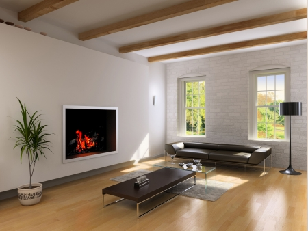 living room interior: modern living room interior with fireplace (3D rendering)