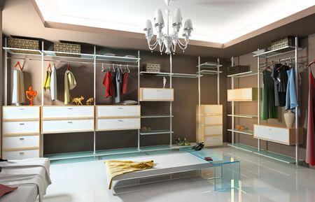 clothes closet: modern wardrobe interior (3D rendering)