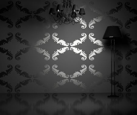 chandelier background: modern blank  interior  (3D rendering)